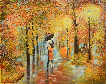 "Oil painting - ""Fall love"" canvas painting. 15.7""х19,7"" (40cm x 50cm) painting art original, wall art canvas, oil painting LANDSCAPE"