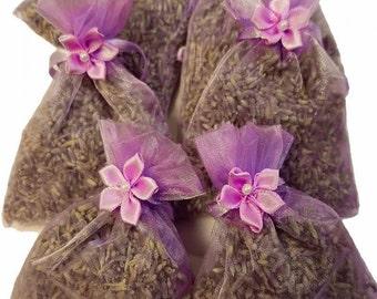 6 count organic lavender sachet with embellishment