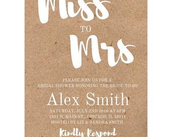 Miss to Mrs Bridal Shower Invitation