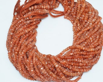 Natural Sunstone Faceted Rondelle Beads 13 Inch Strand ,Sunstone Faceted Rondelle  , 4 mm - MC443