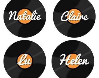 Personnalisé Vinyl Record Badges - LP, fête de mariage mariage, commentaires nom Pin Badges Vintage, vinyle Record Design