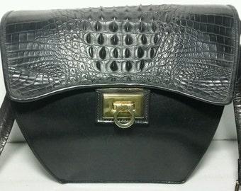 Vintage Black Hornback Leather Handbag, Purse Shoulder Bag