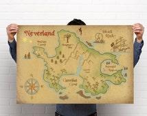 Neverland Map Print // Peter Pan Nursery Print // Captain Hook Print // Free shipping