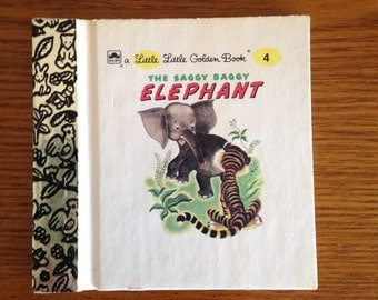 Vintage Miniature Version of The Saggy Baggy Elephant- Little Golden Books Special Miniature Edition
