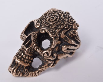 Full Face Ancient Hand Scribed Skull Ring