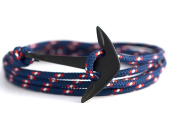 Anchor bracelet matte black / beach
