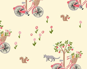 Organic Cotton fabric. Monaluna fabric. Bloom, Lazy Sunday. Quilters weight Bikes, trees, flowers, cats, squirrel, girls, pink, cream, green