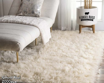 Flokati Wool Rugs - Handmade in Greece - 100% New Zealand Wool - Ultra Plush Rugs - NATURAL COLOUR - 2000gsm