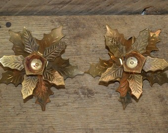 Brass Leaf Candleholders , Holly Leaf Candle holders