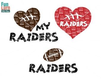 Football SVG, Football season , Raiders , Football, Love my Raiders, Heart, ball ,Digital Cutting File, svg png dxf eps zip   svg file