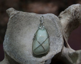 Wrapped Light Green Stone Pendant