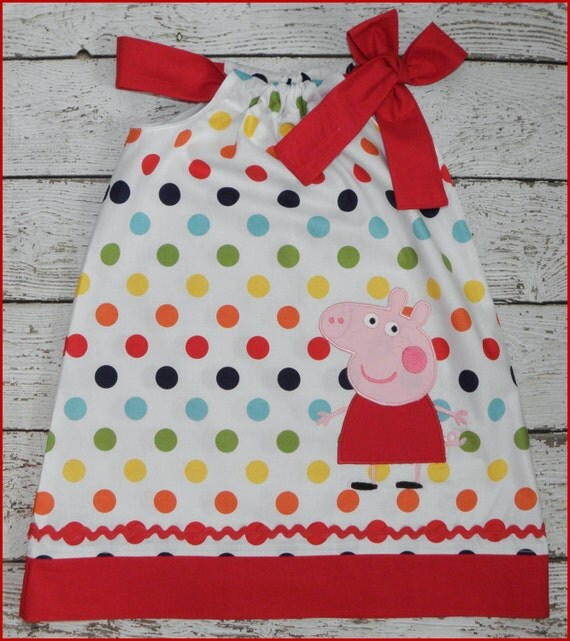 Peppa Pig  Pillowcase style dress  Rainbow polka dot and red