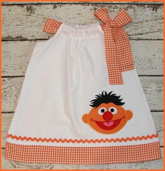 Cute Ernie Sesame Street  Pillowcase style dress White and orange gingham girls dress