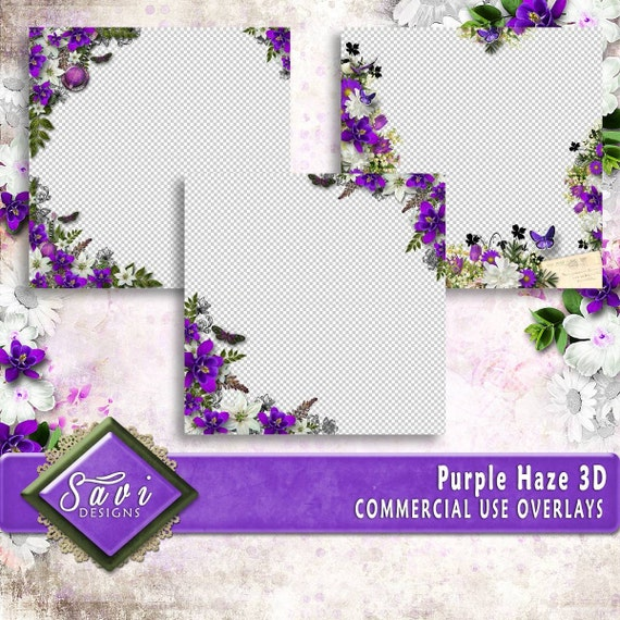 CU Commercial Use PNG Overlays x 3 for Digital Scrapbooking or Craft projects Purple Haze, Designer Stock Papers