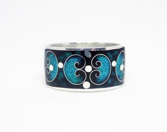 Turquoise enamel band ring, sterling silver band ring, enamel ring for women, free shipping, gift for her