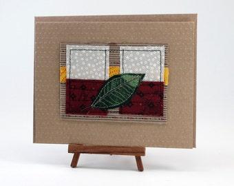 Original Handmade Fabric Collage Blank Greeting Card