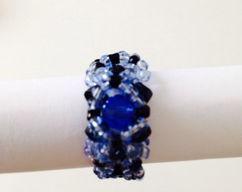 COCTAIL bar Beaded Ring bicones Handsmade Jewellery