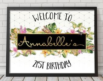 Tropical birthday welcome sign, tropical welcome sign, birthday welcome sign, Hawaiian welcome sign, aloha welcome sign, printable  (62)