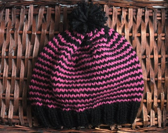 Black & Raspberry stripe hand knit Hat and Beanie