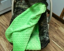 2 Piece Car Seat Set Cover/Canopy Lime Green Mossy Oak Camouflage