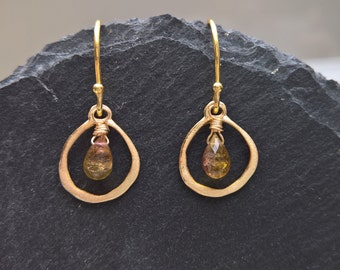 Watermelon tourmaline earrings, gold vermeil earrings, tourmaline jewellery, dainty earrings, dainty gold hoops, hoop earings,
