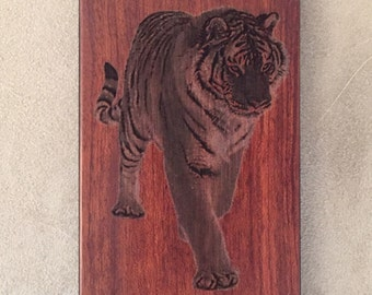 Custom laser engraved tiger photo