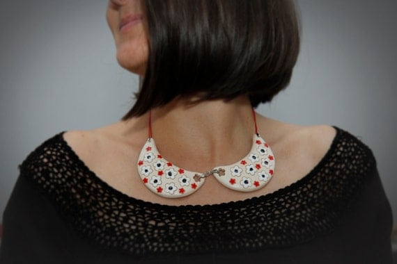 """Unique Ceramic Necklace """"White Collar""""-big"""