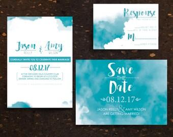 Blue Watercolor Invitation Package. Wedding Invitation Suite. Save the Date. Invitation. RSVP. Blue Green Teal. Minimalist Wedding. Modern