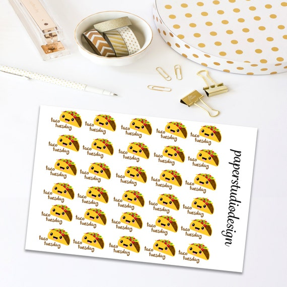 Taco Tuesday Planner Stickers, Taco Stickers, Fast Food Stickers, Planner Stickers, Stickers For Planner, Planner Decor