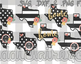 Floral, Stripe, & Polka Dot Texas Monogram Files (.svg, .png, .dxf)