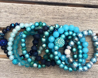 Blues Stacked Beaded Bracelets