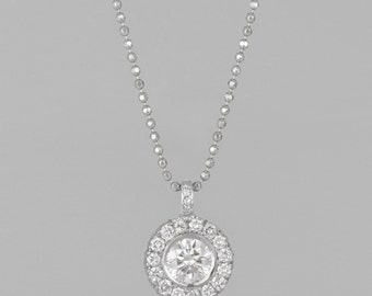 15 around 0.75 CT diamonds 14 K gold necklace diamond central 0.50 CT
