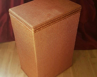 Rose Gold Spinney Lloyd Loom Style Ottoman Linen Box Basket 1960s