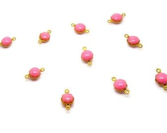 10 connectors round 11mm pink brass email gross