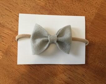 Ash grey felt bow