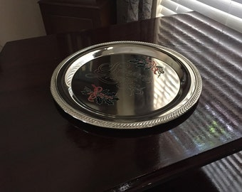 Vintage International Silver Holiday Serving Tray/Platter