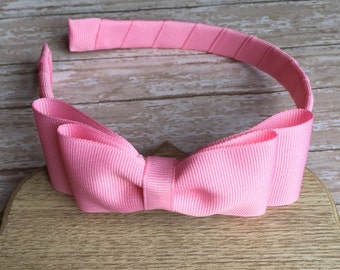 Pink headband with a bow, girls headband, plastic headband, pink bow headband, back to school headbands, gils hard headband with bow