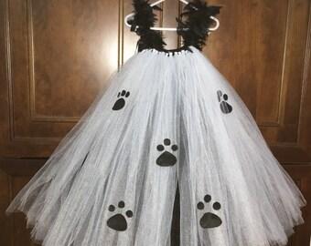 Cruella de Vil inspired tutu costume, infant/toddler halloween costume, halloween, dalmation costume, red and black tutu, cruella deville