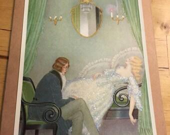 Sleeping Beauty Vintage book art greeting card