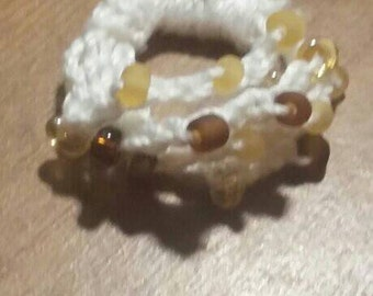 Crochet Bead Ring made with glass beads,one size fits all,white/tan ring,multicolored ring,multicolored beaded ring, Free shipping