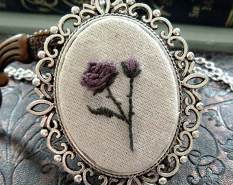 Purple Rose Embroidered Frame Necklace in Antique Silver