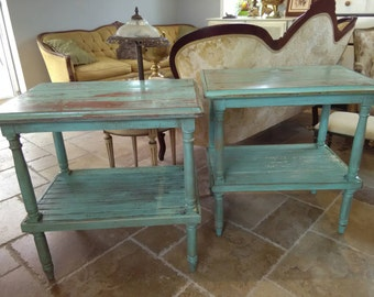 Pair of Reclaimed Wood End Table