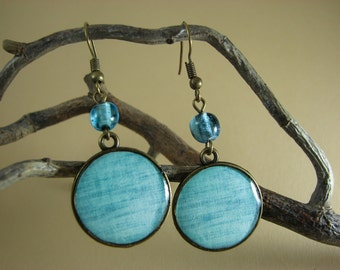 Turquoise dangle earrings – Turquoise  jewelry – Fabric earrings – Light Blue earrings - Boho jewelry - Aquamarine jewelry (E002)