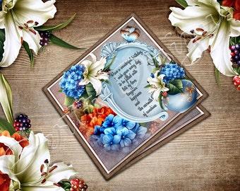 Digital Download-Hydrangea-Printable-Greetingcards-Flower Birthday Card Kit 894
