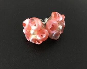 Vintage Pink Flower Clip on Earrings