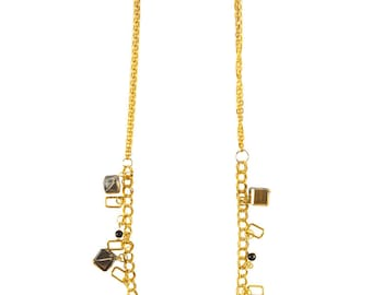 Pearl & Gold Cube Necklace