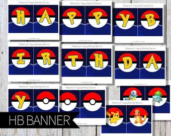 Pokemon GO Birthday Party PRINTABLE 'Happy Birthday' Banner- Instant Download | Pokemon GO Birthday Party