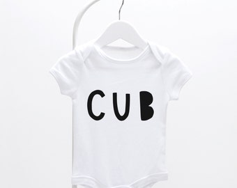 Cub Baby Grow - graphic baby grow, fun baby grow, baby clothes,