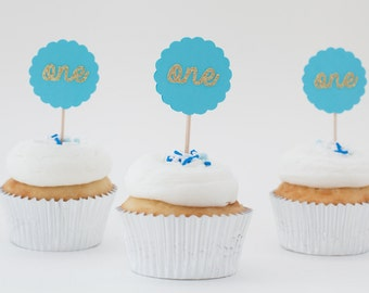Blue First Birthday Cupcake Kit.