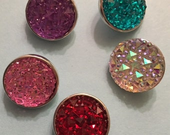 Set of Five Sparkling Colored 18mm Interchangeable Snaps that fit all 18mm and 20mm Snap Jewelry